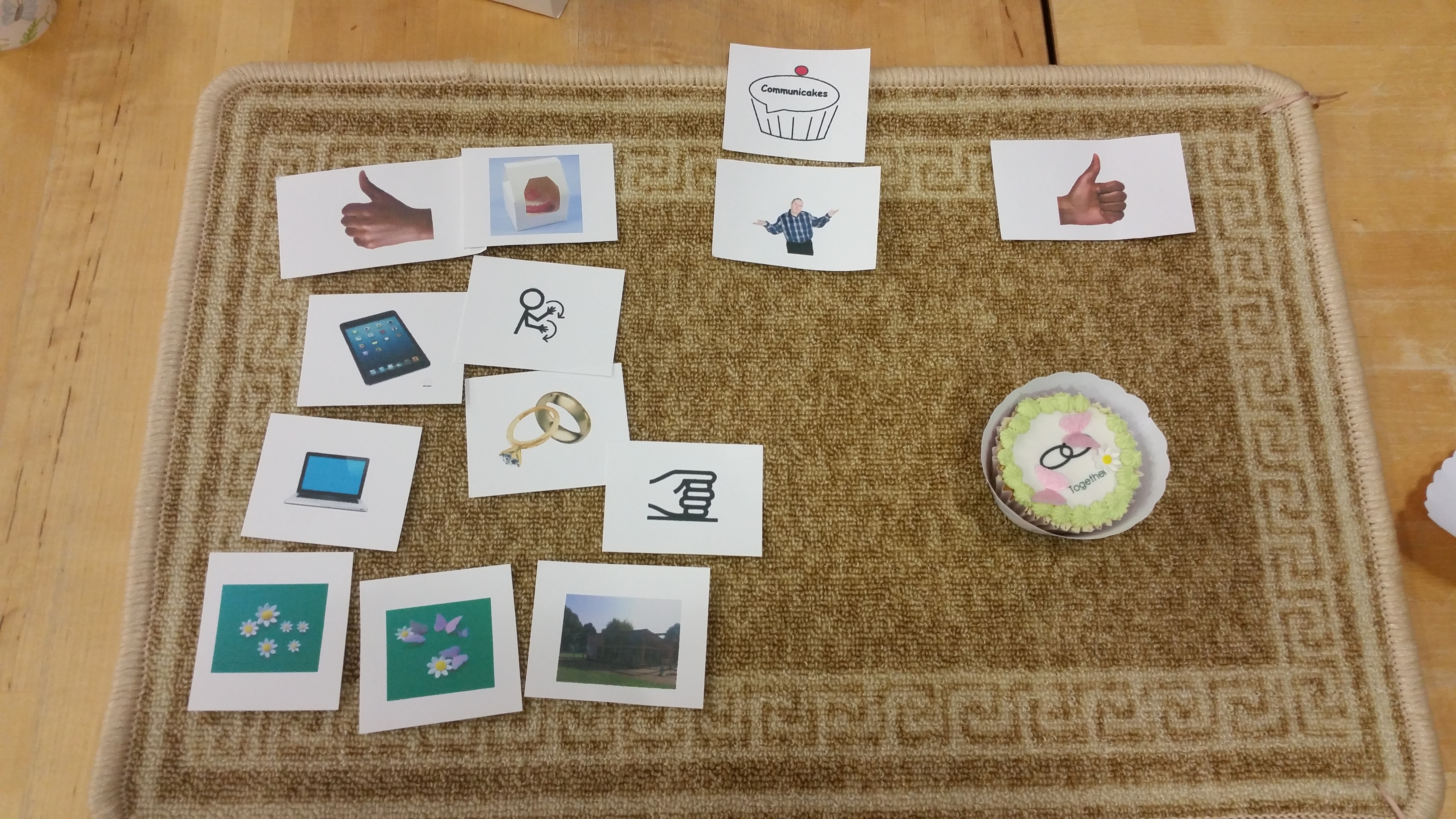Talking Mat showing positive feedback in symbols and photos