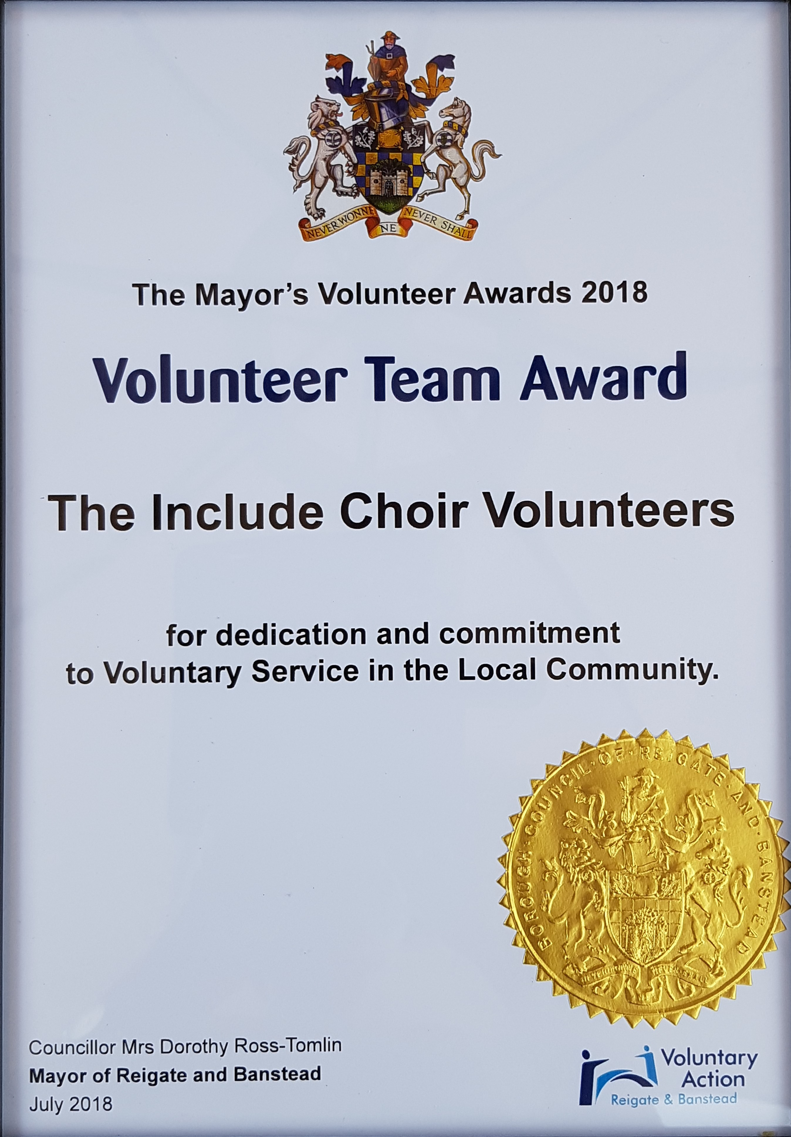 Reigate and Banstead Volunteering Award